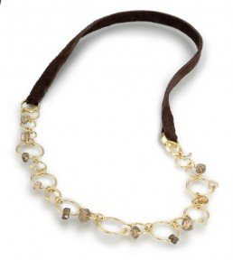 Industrial diamond necklace w suede