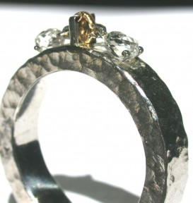 hammered platinum and briolette diamond ring
