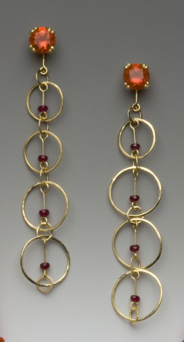 ruby circle earrings w orange sapphires